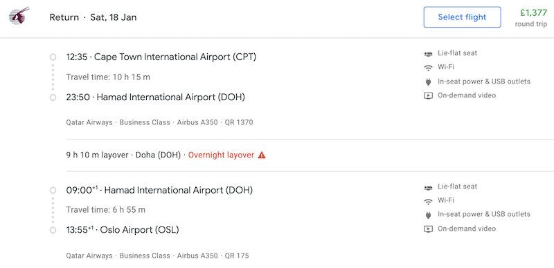 example itinerary via doha showing 9 hour layover
