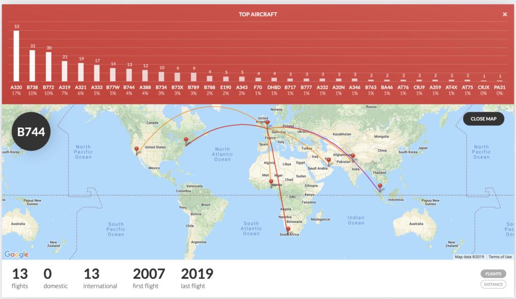 Boeing 747 flight stats map
